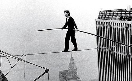 Original footage of Philippe Petit doing his wire walk.